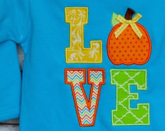 Personalized LOVE Pumpkin Applique Shirt or Bodysuit for Boy or Girl