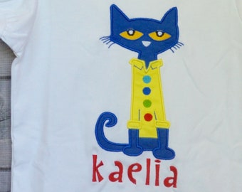 Personalized Cool Cat Applique Shirt or Bodysuit Boy or Girl