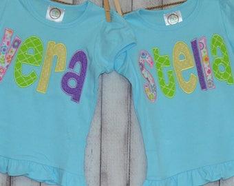 Personalized Applique Name Applique Shirt or Bodysuit Boy or Girl