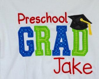 Personalized Preschool Grad Applique Shirt or bodysuit