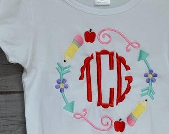 Personalized School Circle Monogram with Apple and Pencil Applique Shirt or Bodysuit Girl or Boy