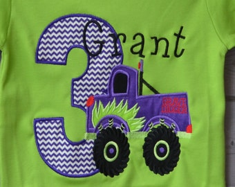 Personalized Birthday Monster Truck Applique Shirt or Bodysuit Girl or Boy