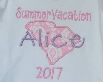 Personalized Vacation State Applique Shirt or Bodysuit Boy or Girl