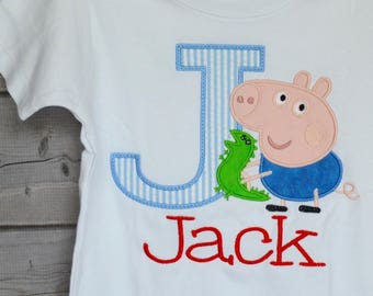 Personalized Initial Letter with Pig Applique Shirt or Bodysuit Girl or Boy