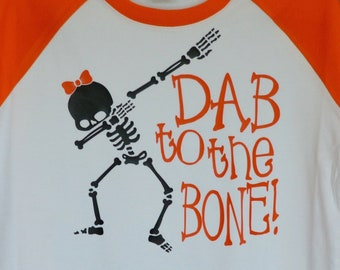 Personalized Halloween Girly Skeleton with Bow or Boy Skeleton Dab to the Bone Heat Press Vinyl Shirt or Bodysuit for Boy or Girl