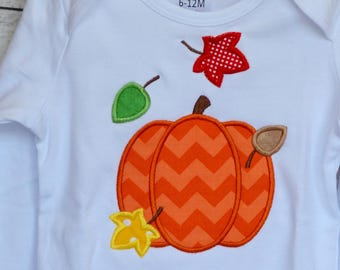 Personalized Pumpkin with Leaves Applique Shirt or Bodysuit for Boy or Girl