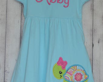 2852b7877 Personalized Sea Turtle Applique Dress, Shirt or Bodysuit Girl