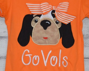 Personalized Football Smokey Hound Dog Face Applique Shirt or Bodysuit