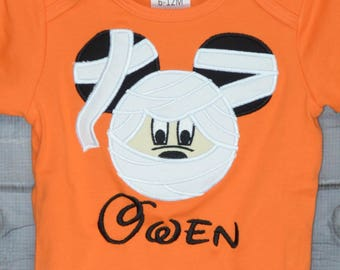 Personalized Halloween Mouse Head with Ears Mummy  Applique Shirt or Bodysuit for Boy or Girl