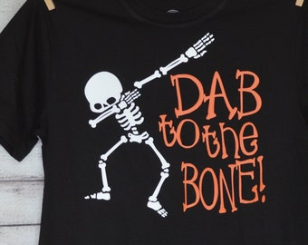 Personalized Halloween Boy Skeleton or Girly Skeleton with Bow Dab to the Bone Heat Press Vinyl Shirt or Bodysuit for Boy or Girl