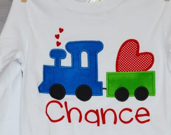 Personalized Valentine's Train Heart Applique Shirt or Bodysuit Girl or Boy