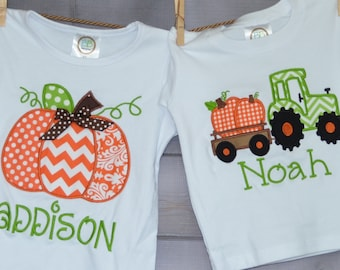 Personalized Pumpkin or Tractor with Pumpkins Applique Shirt or Bodysuit for Boy or Girl