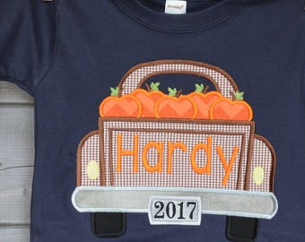 Personalized Thanksgiving Truck with Pumpkins Applique Shirt or Bodysuit for Boy or Girl