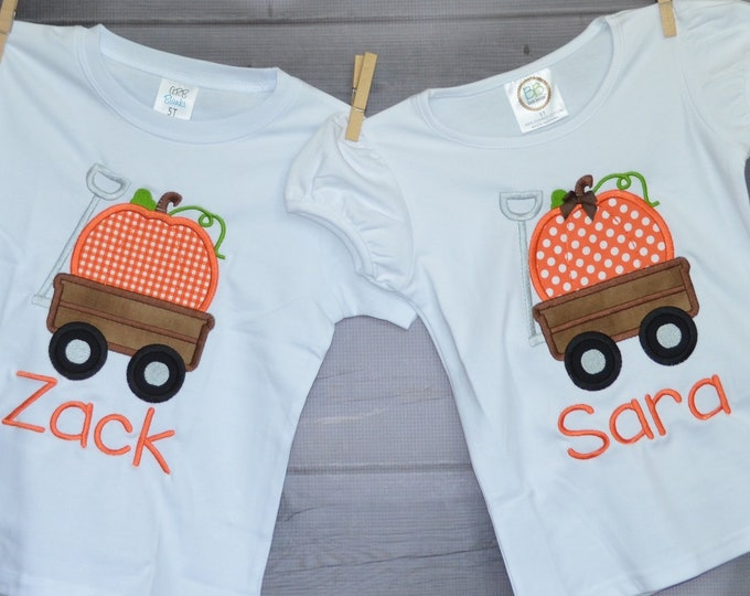 Featured listing image: Personalized Wagon with Pumpkin Applique Shirt or Bodysuit for Boy or Girl