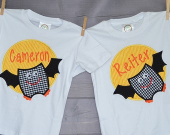 Personalized Halloween Bat Moon Patch Applique Shirt or Bodysuit for Boy or Girl