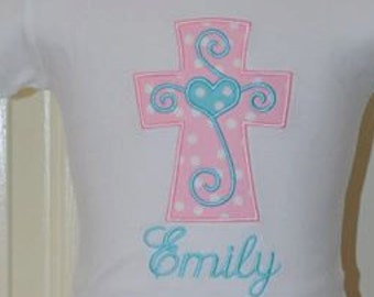 Personalized Cross Applique Shirt or Bodysuit Girl or Boy