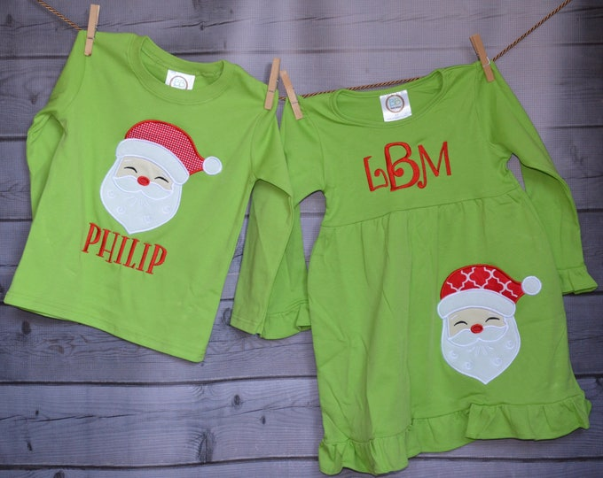 Featured listing image: Santa Claus Applique Shirt or Bodysuit Boy or Girl