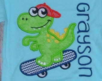 Personalized Cool Dinosaur on Skateboard Applique Shirt or Bodysuit Girl or Boy