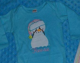 Snow Man Applique Shirt or Bodysuit Boy or Girl