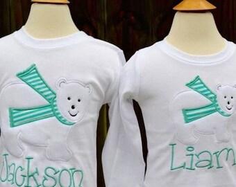 Polar Bear with Scarf Applique Shirt or Bodysuit Boy or Girl