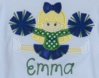 Personalized Football Cheerleader Applique Shirt or bodysuit