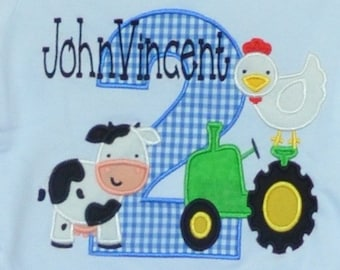 Personalized Birthday Farm Tractor Chicken Cow Pig Applique Shirt or Bodysuit Girl or Boy
