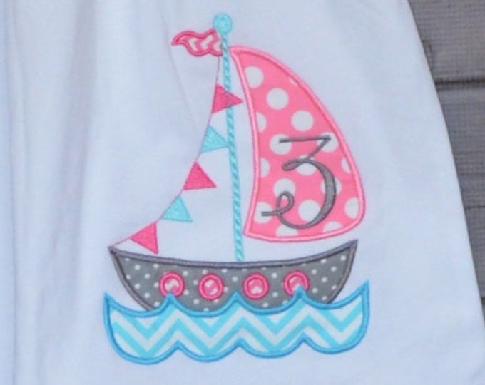 Featured listing image: Personalized Sail Boat for Boy or Girl Applique Shirt or Bodysuit Boy or Girl