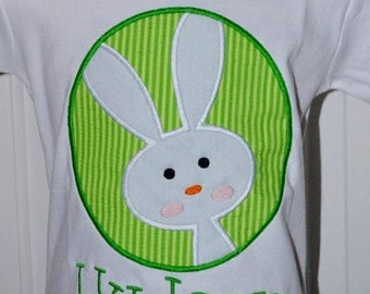 Personalized Easter Bunny Patch Applique Shirt or Bodysuit Girl or Boy