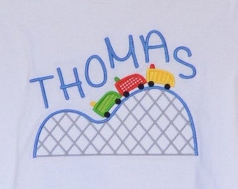 Personalized Carnival Fair Roller Coaster Applique Shirt or Bodysuit Girl or Boy