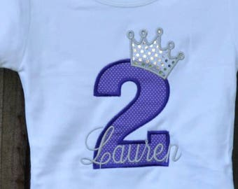 Personalized Birthday Number with Princess Crown Applique Shirt or Bodysuit Girl