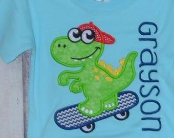 Personalized Cool Dinosaur on Skateboard Applique Shirt or Bodysuit Girl or Boy
