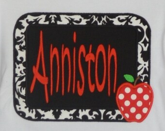 Personalized Chalkboard with Apple Applique Shirt or Bodysuit Girl
