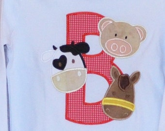 Personalized Initial Letter with Cow Pig Horse Applique Shirt or Bodysuit Girl or Boy