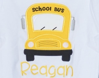 Personalized Bus Applique Shirt or Bodysuit Girl or Boy
