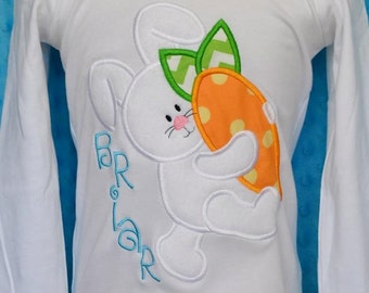 Personalized Easter Bunny Carrot Applique Shirt or Bodysuit Girl or Boy