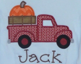 Personalized Truck with Pumpkin Applique Shirt or Bodysuit for Boy or Girl