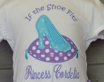 Personalized Princess Shoe Applique Shirt or Bodysuit Girl
