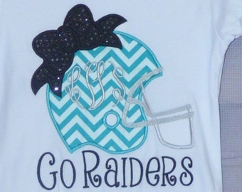 Personalized Name your Team Football Helmet with Bow Applique Shirt or bodysuit