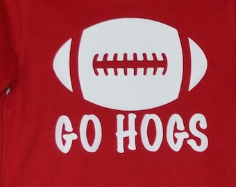Personalized Football Heat Press Vinyl Shirt or Bodysuit for Boy or Girl Arkansas