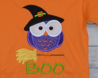 Personalized Halloween Owl with Witch Hat on a Broom Applique Shirt or Bodysuit for Boy or Girl