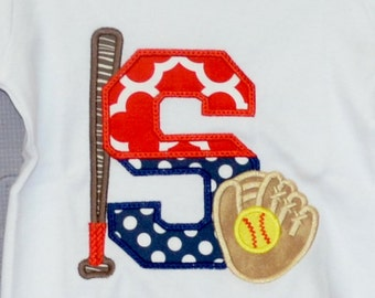 Personalized Initial Baseball Softball with Bat & Glove Applique Shirt or Bodysuit Girl or Boy