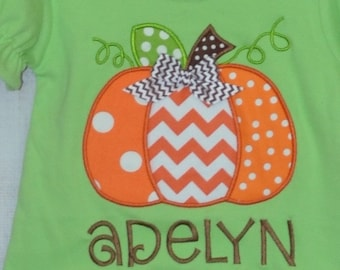 Personalized Pumpkin Applique Shirt or Bodysuit for Boy or Girl