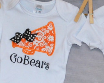 Personalized Megaphone with Bow Applique Shirt or Bodysuit
