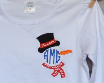 SnowMan with Hat & Scarf Pocket Monogram Applique Shirt or Bodysuit Boy or Girl