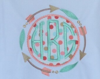 Personalized Monogram Circle Patch with Arrows  Applique Shirt or Bodysuit Girl or Boy