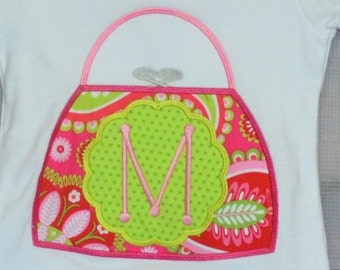 Personalized Floral Purse w/ Initial Name Applique Shirt or Bodysuit Girl