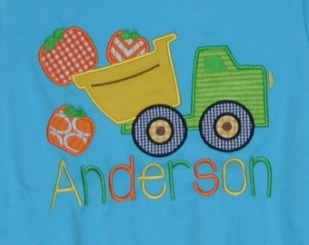 Personalized Truck with Pumpkin Applique Shirt or Bodysuit for Boy