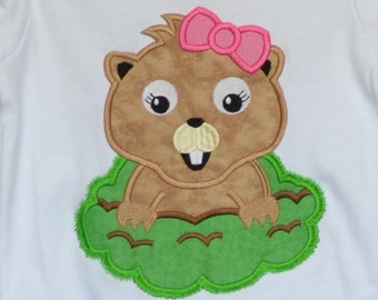 Personalized Ground Hog Applique Shirt or Bodysuit Girl or Boy