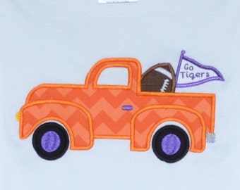 Personalized Initial Truck with Football and Flag Applique Shirt or Bodysuit