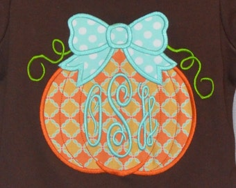 Personalized Coordinating Pumpkin in Tractor or Pumpkin with Bow Applique Shirt or Bodysuit for Boy or Girl